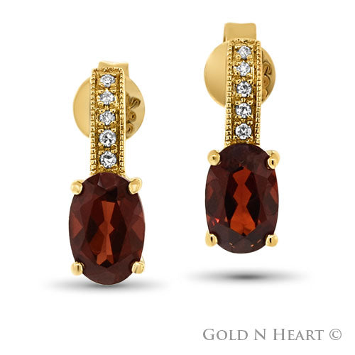 Garnet & Diamond Drop Stud Earrings