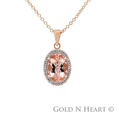 "Rose Gold 3 Carat Oval Morganite Pendant on 16"" Chain"