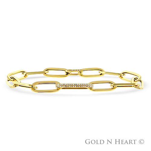 Paperclip Bracelet in 14k Yellow Gold with Diamond Link & Clasp