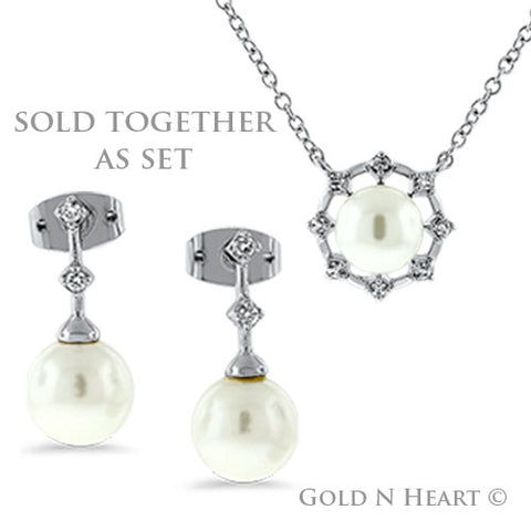 Pearl Drop Earrings & Pendant Set