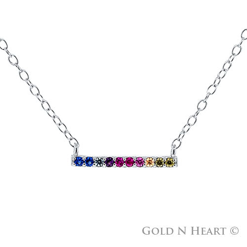 Small Rainbow Bar Necklace