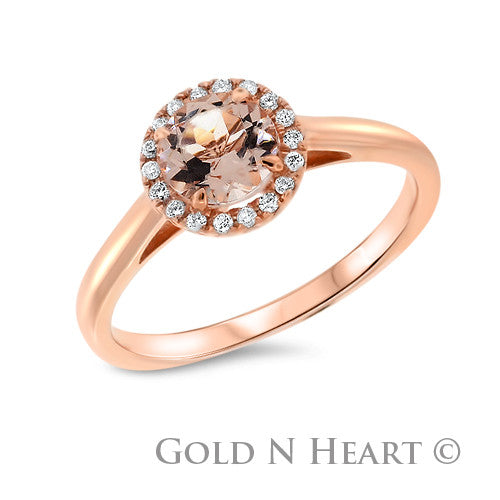Morganite with Diamond Halo Round Shape Solitaire