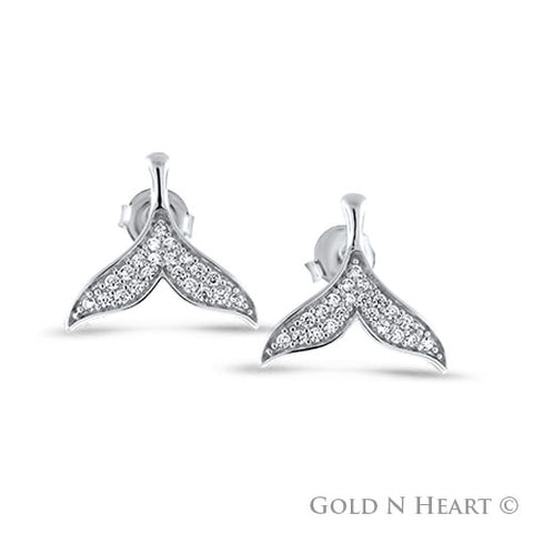 Cubic Zirconia Whale Tail Earrings