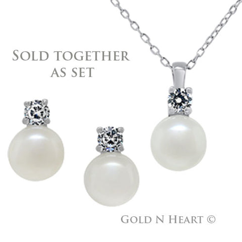 Solitaire Pearl with Cubic Zirconia Accent Set