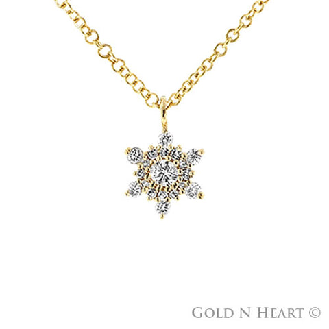 Star of David Diamond Necklace in 14K Yellow Gold