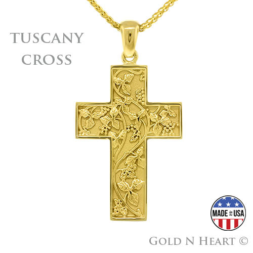 Tuscany Solid 14K Cross Pendant