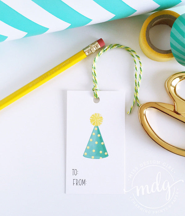 Party Hat Gift Tags