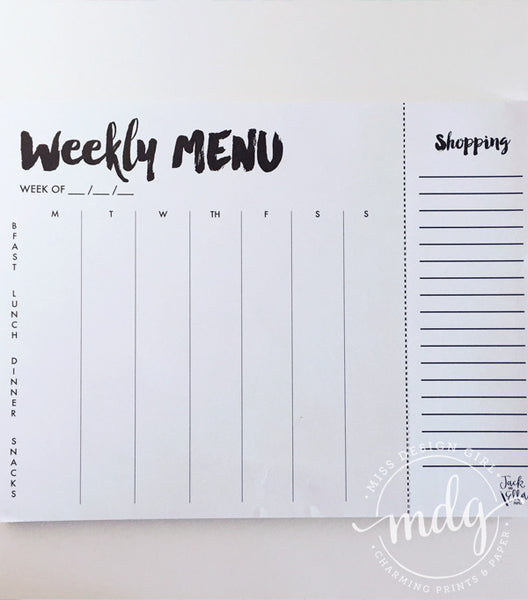 Weekly Menu Notepad