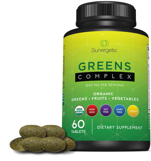 Premium USDA Organic Greens Superfood Tablets -Includes Organic Greens, Fruits & Vegetables - Sunergetic