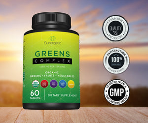 Premium USDA Organic Greens Superfood Tablets -Includes Organic Greens, Fruits & Vegetables - Sunergetic Products