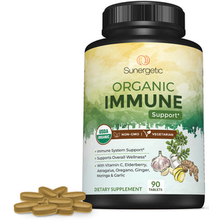 USDA Organic Immune Support Supplement - 90 Tablets - Sunergetic