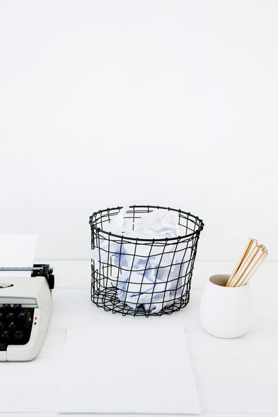 WIRE POT BASKET - HANDWOVEN IN INDIA