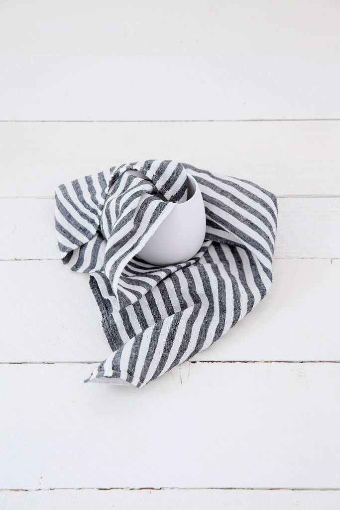 LINEN TEA TOWEL IN BLACK AND WHITE STRIPES