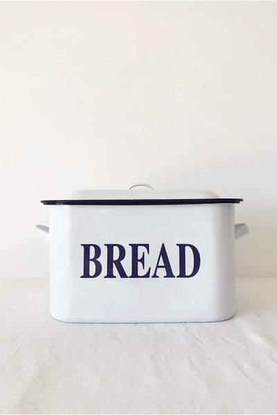 ENAMEL BREAD BIN IN WHITE WITH BLUE RIM