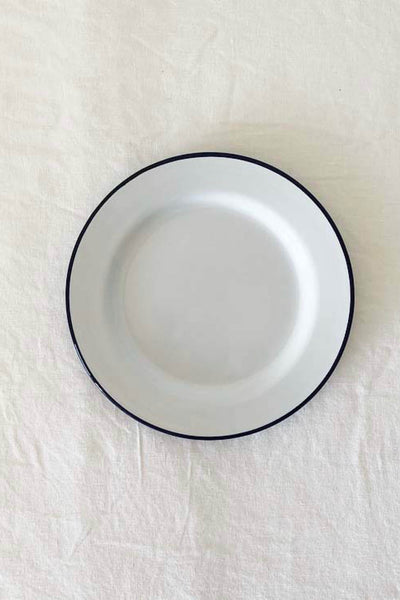 ENAMEL SIDE PLATE IN WHITE WITH BLUE RIM