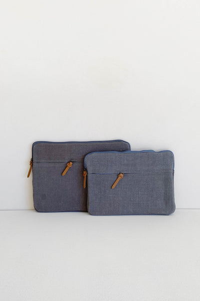 JUTE CANVAS LAPTOP BAG IN ASH - FAIR TRADE