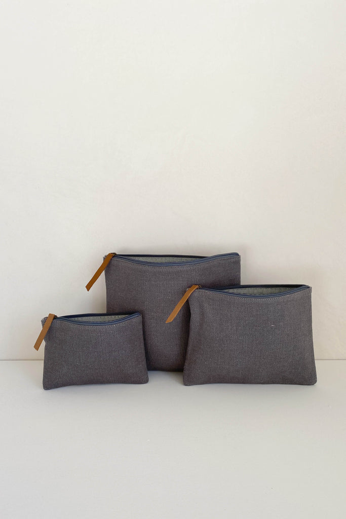 JUTE CANVAS POUCH IN ASH