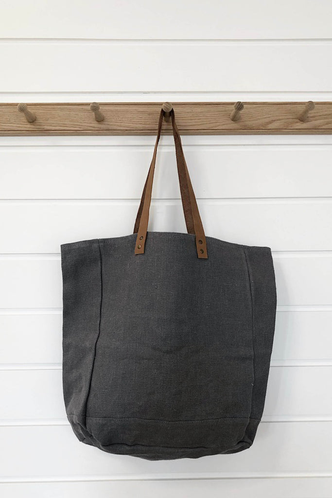JUTE CANVAS TOTE BAG IN ASH - FAIR TRADE