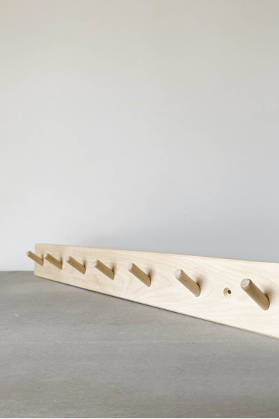 TIMBER COAT HOOK RAIL IN BIRCH - 7 PEG