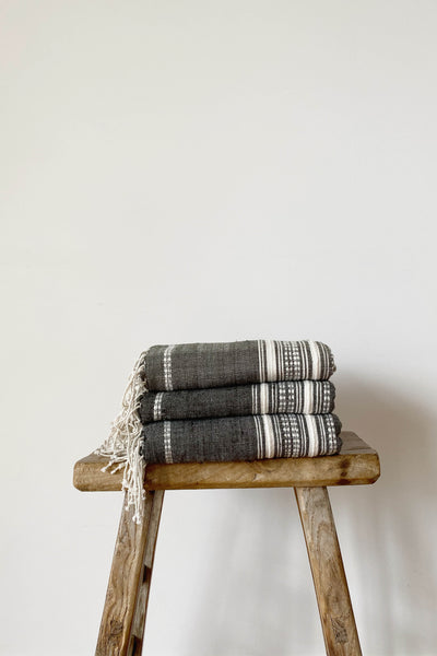 HAND LOOMED THROW IN CHARCOAL/NATURAL