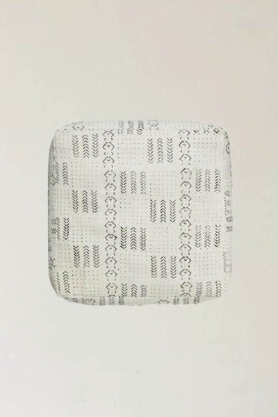 MALI MUD CLOTH FLOOR CUSHION IN WHITE