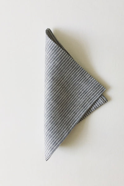LINEN NAPKIN GREY WITH WHITE PINSTRIPES