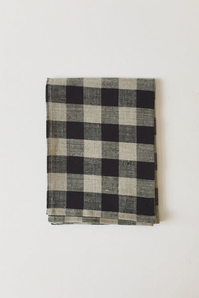 LINEN TEA TOWEL THICK BLACK AND NATURAL CHECK