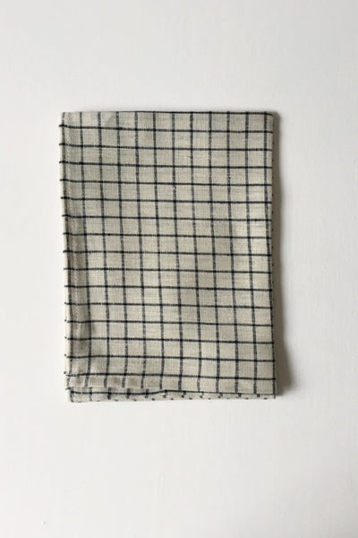 LINEN TEA TOWEL IN NATURAL WITH BLACK CHECK