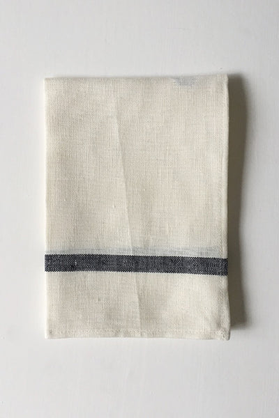 LINEN TEA TOWEL IN WHITE WITH NAVY STRIPE