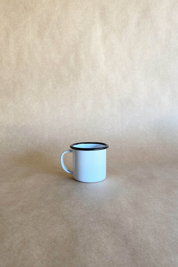 ENAMEL MUG IN WHITE WITH BLACK RIM SMALL