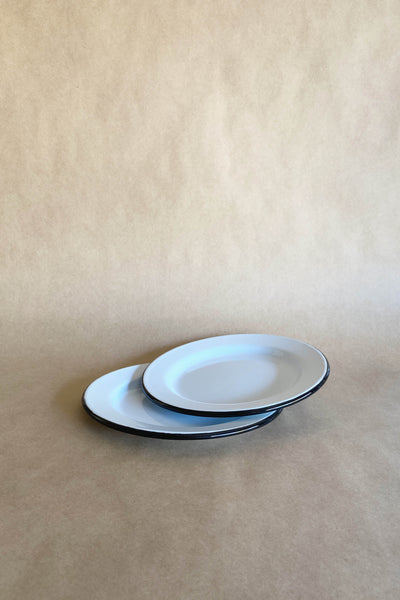 ENAMEL SIDE PLATE IN WHITE WITH BLACK RIM