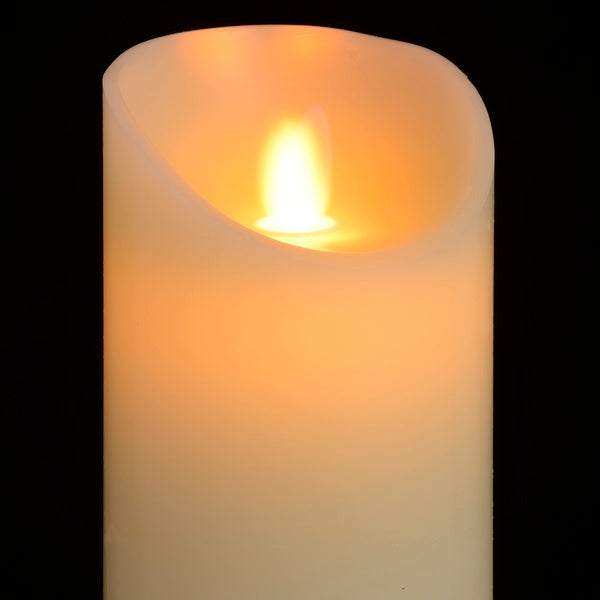 Luxe Collection 3 x 8 Cream Flickering Flame LED Wax Candle - Doodledash