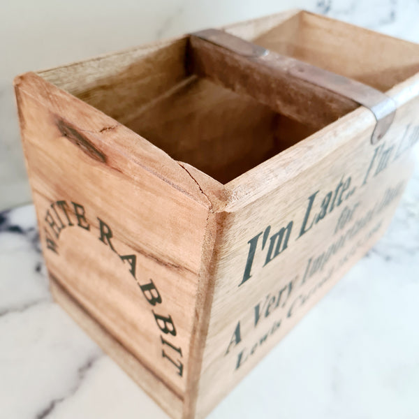 I'm Late wooden crate
