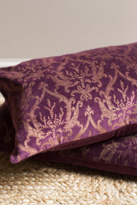 Dark Purple Gold Damask Cotton Velvet Cushion