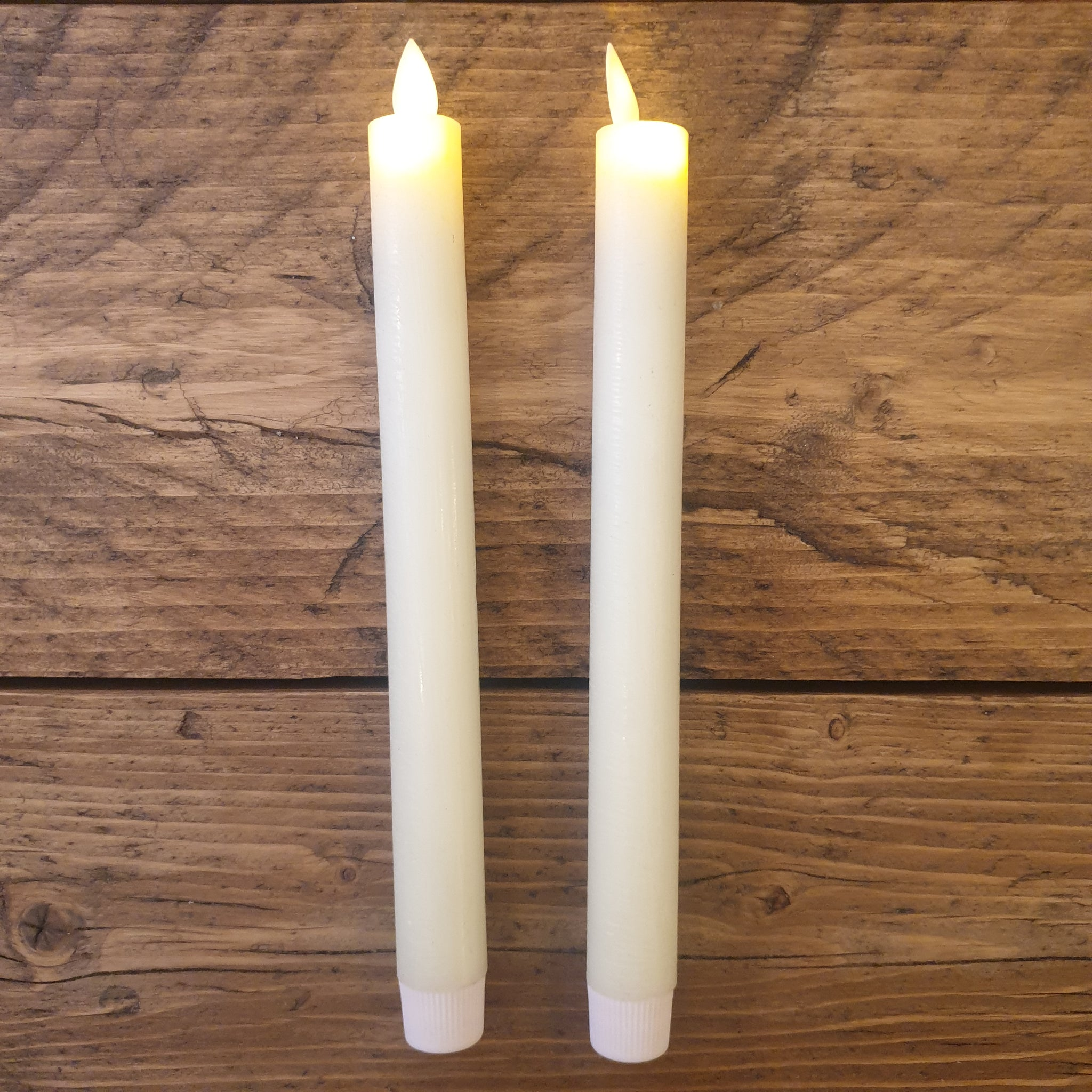 Luxe Collection Pair of LED Wax Dinner Flickering Flame Candles