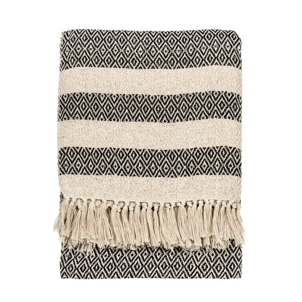 SCANDI BOHO STRIPE BLANKET TASSELLED THROW