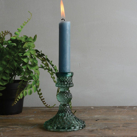 Glass Candlestick Harlequin Green