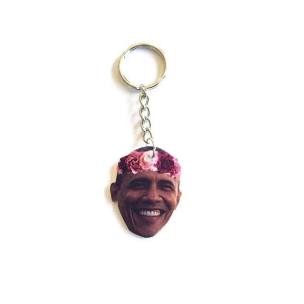 Obama with a Flower Crown Keychain