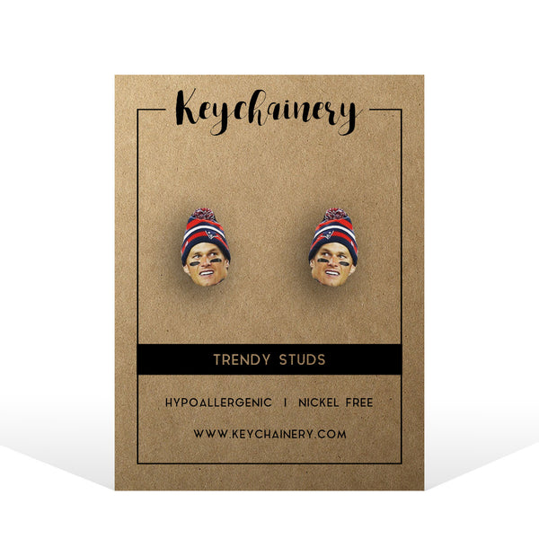 Tom Brady Stud Earrings - New England Patriots - Go Pats!