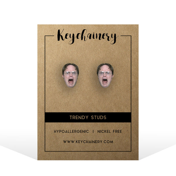 Dwight Schrute  Stud Earrings - The Office Stud Earrings - Tv Show  Stud Earrings
