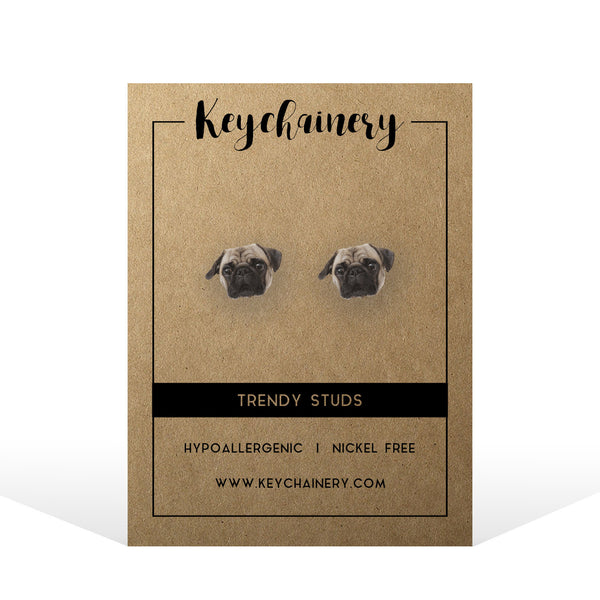 Pug Stud Earrings - Animal Stud Earrings - Pet Stud Earrings