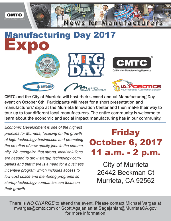 Don't Miss Out - Sign up Today for Manufacturing Day on Friday October 6th!
