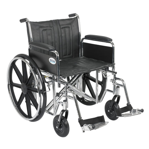 "Sentra EC Heavy Duty Wheelchair, Detachable Full Arms, Swing away Footrests, 22"" Seat"