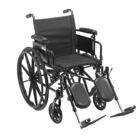 "Cruiser X4 Lightweight Dual Axle Wheelchair with Adjustable Detachable Arms, Desk Arms, Elevating Leg Rests, 20"" Seat"