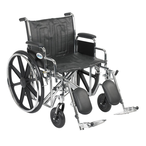 "Sentra EC Heavy Duty Wheelchair, Detachable Desk Arms, Elevating Leg Rests, 22"" Seat"