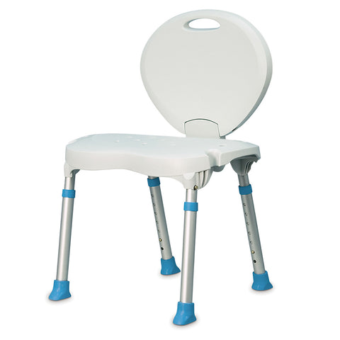 Folding Bath and Shower Chair with Non-Slip Seat and Backrest, White