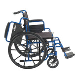 "Blue Streak Wheelchair with Flip Back Desk Arms, Swing Away Footrests, 18"" Seat"