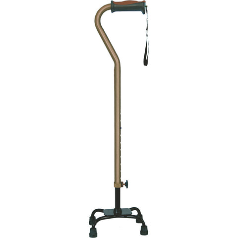 Adjustable Quad Cane for Right or Left Hand Use, Small Base, Cocoa