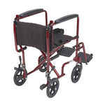 "Lightweight Transport Wheelchair, 19"" Seat, Red"