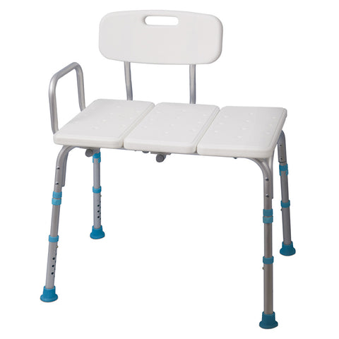 Adjustable Bath and Shower Transfer Bench with Reversible Backrest, Off White